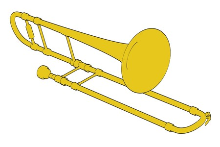 trombone: 2d cartoon illustration of trombone