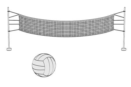 2d: 2d cartoon illustration of volleyball set