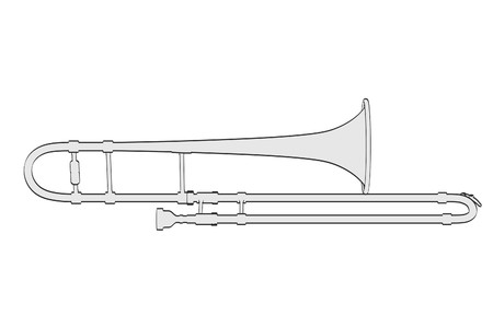 brass wind: 2d cartoon illustration of trombone