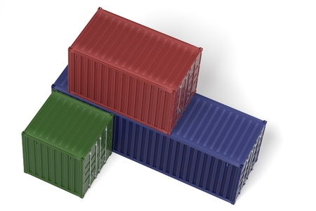 shipyard: 3d rendering of cargo containers Stock Photo