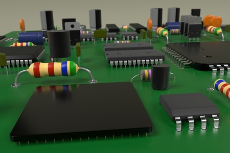 microprocessors: 3d rendering of computer board Stock Photo