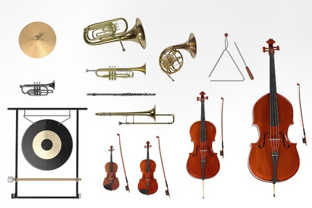 renderings: 3d renderings of orchestra musical instruments Stock Photo