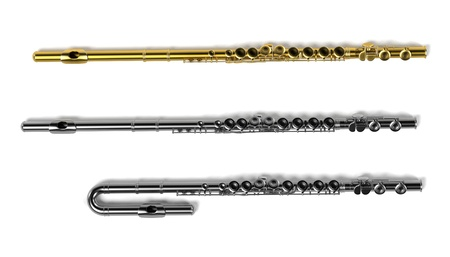flutes: 3d renderings of flutes (musical instrument) Stock Photo
