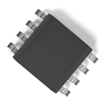 main part: 3d rendering of computer chip