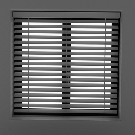 courtain: 3d rendering of window with blinds Stock Photo
