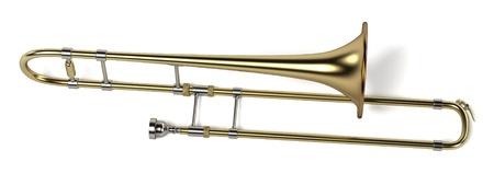 trombone: 3d rendering of trombone musical instrument