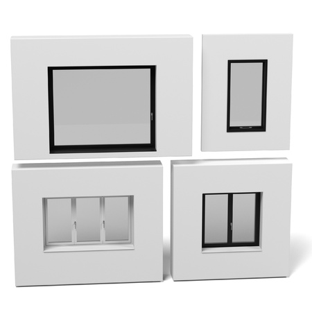 sunblind: 3d rendering of modern windows set Stock Photo