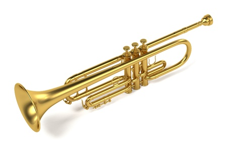 brass wind: 3d rendering of jazz trumpet