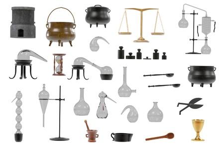 Rendus 3D d'outils d'alchimie mis Banque d'images - 55783090