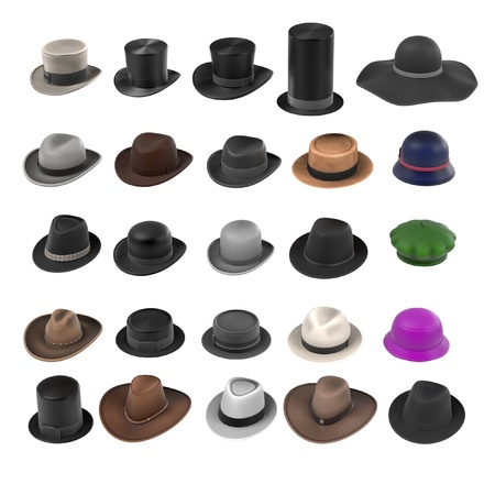 tophat: 3d renderings of large hats collection Stock Photo