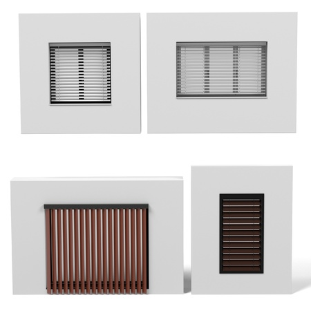 courtain: 3d rendering of modern windows set Stock Photo