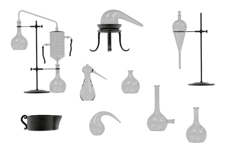 alchemy: 3d renderings of alchemy tools set