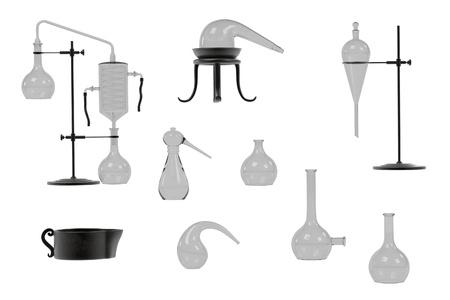 alquimia: Representaciones 3d de herramientas de alquimia establecen