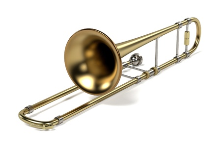 brass wind: 3d rendering of trombone musical instrument