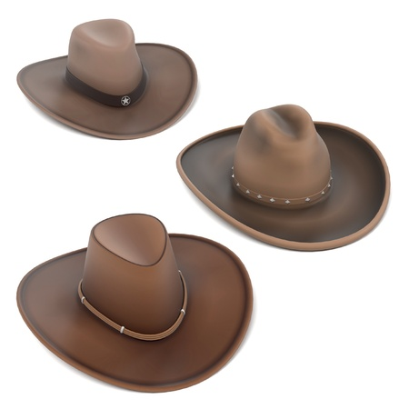 panama hat: 3d renderings of cowboy hats Stock Photo