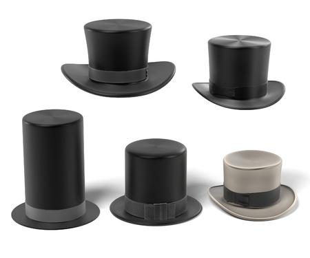 3d renderings of top hats Stock Photo
