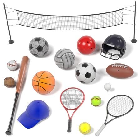 renderings: 3d renderings of sport equipment set