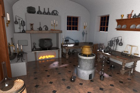 alchemy: 3d renderings of alchemy laboratory