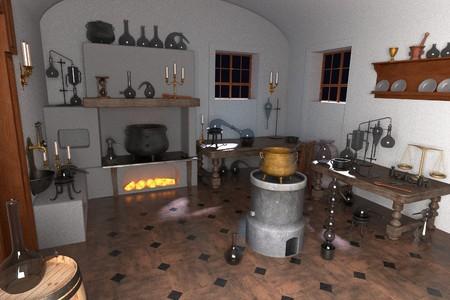 Rendus 3D de laboratoire de l'alchimie Banque d'images - 55822376