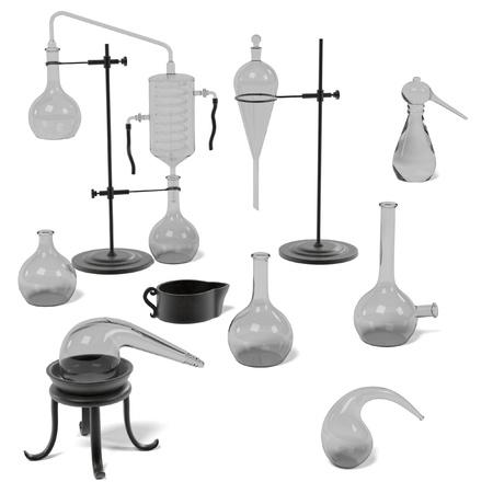 Rendus 3D d'outils d'alchimie mis Banque d'images - 55818590