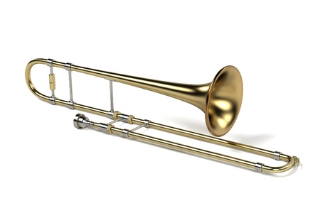 trombone: 3d rendering of trombone musical instrument
