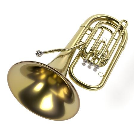 tuba: 3d rendering of tuba musical instrument
