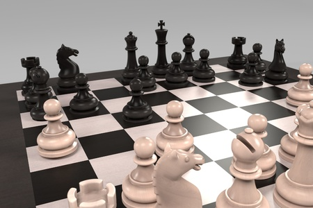 childern: 3d rendering of chess board game