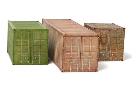 shipyard: 3d renderings of rusty cargo containers
