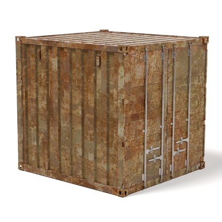 shipyard: 3d renderings of rusty cargo container Stock Photo