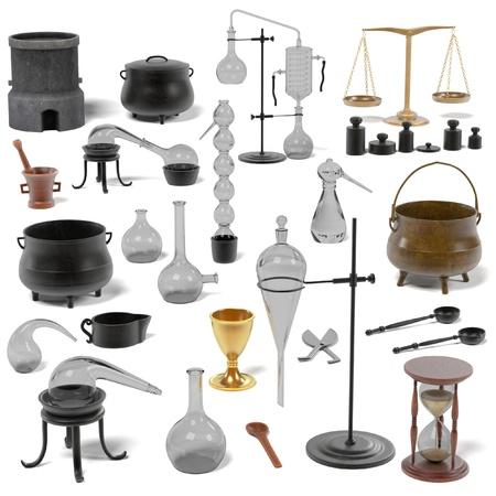Rendus 3D d'outils d'alchimie mis Banque d'images - 55898424