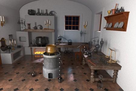 alquimia: Representaciones 3d de laboratorio de la alquimia