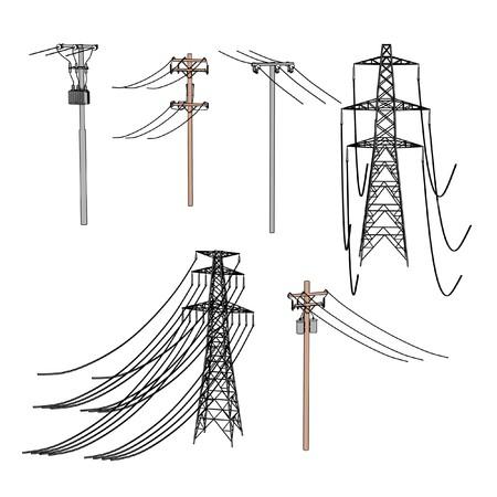 2d ilustración de dibujos animados de las líneas eléctricas Foto de archivo - 66856305