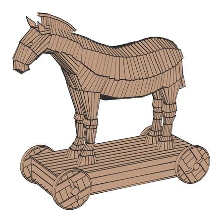 2d illustrazione cartone animato di cavallo di troia