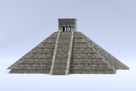 grave stone: realistic 3d render of mayan pyramid