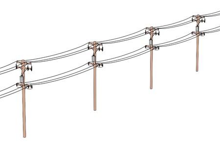 2d cartoon illustratie van elektrische leidingen