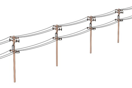 2d cartoon illustration of electric lines
