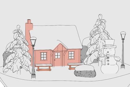 snowglobe: 2d cartoon illustration of snowglobe Stock Photo