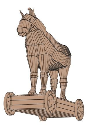 2d cartoon illustration of trojan horse
