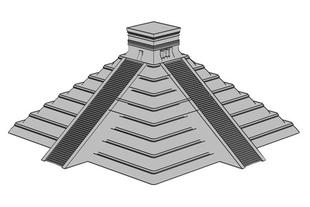 2d cartoon illustration of mayan pyramide