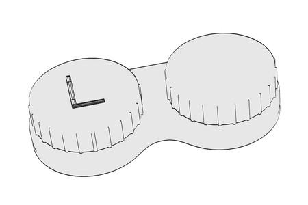 myopia: 2d cartoon illustration of contact lens Stock Photo