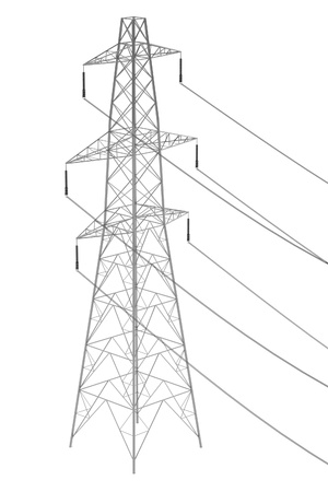 powerline: realistic 3d render of electric line