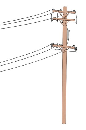 electrical tower: 2d cartoon illustration of electric lines