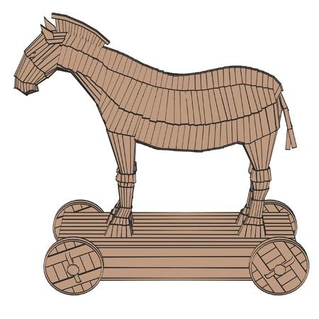 troyan: 2d cartoon illustration of trojan horse