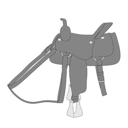 2d cartoon illustration of saddle