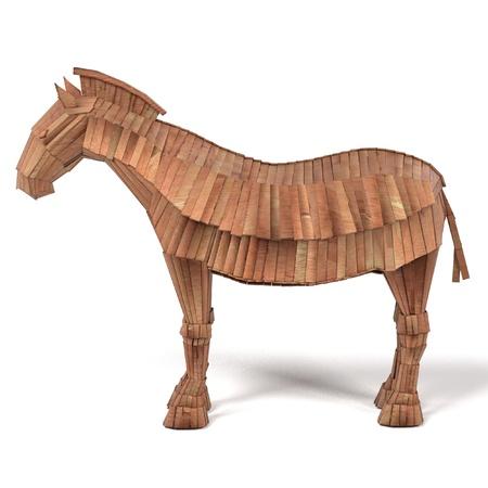 homer: realistic 3d render of trojan horse