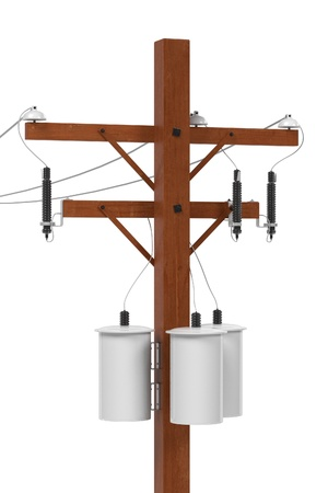 telephone pole: realistic 3d render of electric line