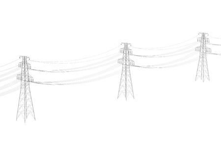 Realista 3d de la línea eléctrica Foto de archivo - 66968064