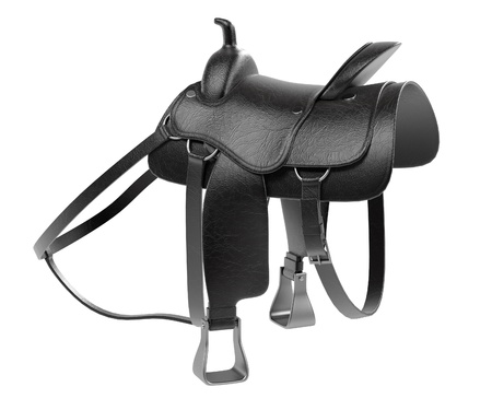 render: realistic 3d render of saddle Stock Photo