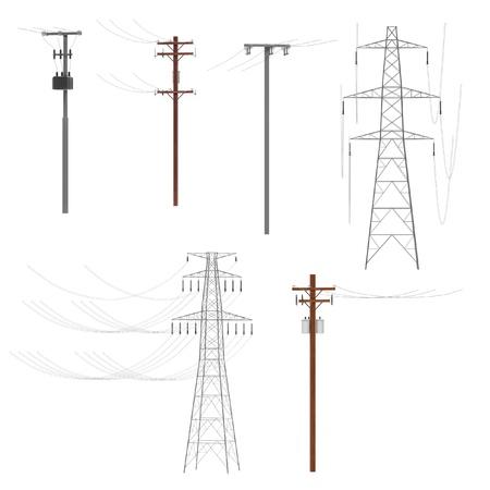 Render 3D realista de las líneas eléctricas Foto de archivo - 67343968