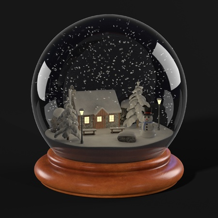 realistic 3d render of snowglobe